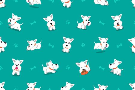 Vector cartoon character white scottish terrier dog seamless pattern background for design.