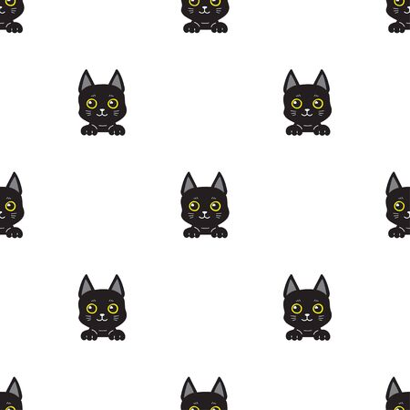 Cartoon character black cat seamless pattern background for design. Standard-Bild - 133446657
