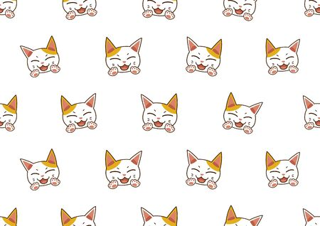 Cartoon character cute cat seamless pattern background for design.