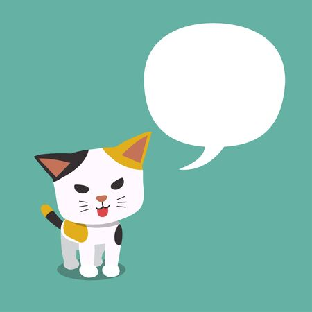 Cartoon character cute cat with speech bubble for design.