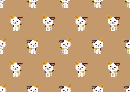 Cartoon vector character cute cat seamless pattern background for design. Ilustracja
