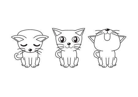 Vector cartoon character cat poses for design.