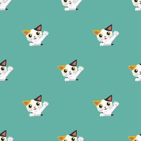 Vector cartoon character cute cat seamless pattern background for design.