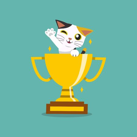 Vector cartoon character cute cat with gold trophy cup award for design.