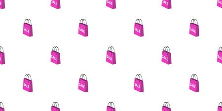 Vector pink shopping bag seamless pattern background cartoon style for design.