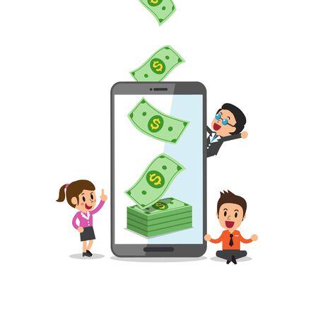 Business concept vector cartoon smartphone help business team to earn money for design.