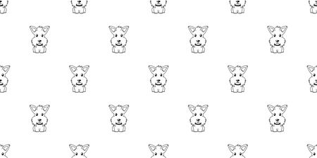 Vector cartoon character scottish terrier dog seamless pattern background for design.