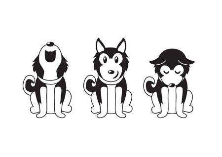 Vector cartoon character siberian husky dog poses for design.