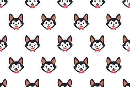 Vector cartoon character siberian husky dog seamless pattern background for design. Ilustracja