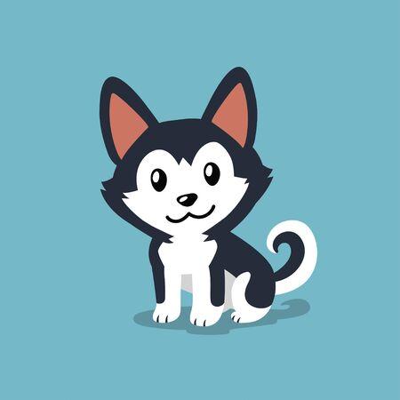 Vector cartoon character siberian husky dog for design. Ilustracja