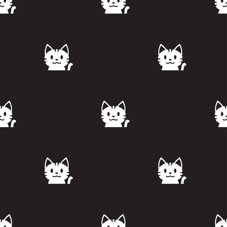 Vector cartoon cute white tabby cat seamless pattern background for design.