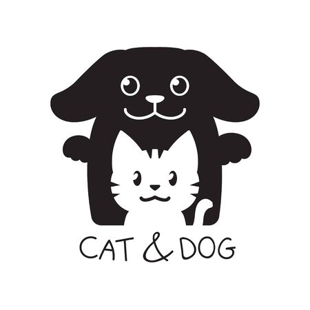 Vector illustration cartoon of cat and dog on white background for design.
