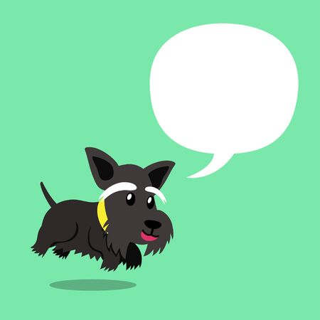 Cartoon character cute black scottish terrier dog with speech bubble for design. Ilustracja
