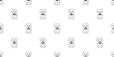 Vector cartoon character labrador retriever dog seamless pattern background for design.