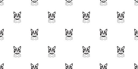 Vector cartoon character boston terrier dog seamless pattern background for design.