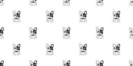Vector cartoon character french bulldog seamless pattern background for design.