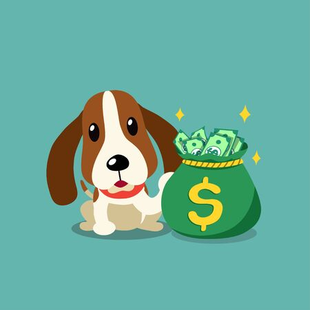 Vector cartoon character hound dog with money bag for design.