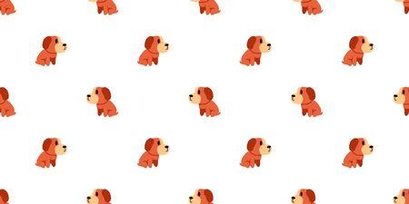 Vector cartoon dog seamless pattern background for design.