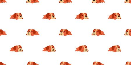 Vector sleeping dog seamless pattern background cartoon style for design.
