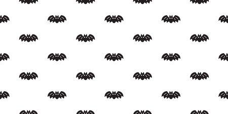 Vector halloween bat seamless pattern background cartoon style for design. Ilustracja