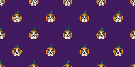Vector halloween boston terrier dog with pumpkin seamless pattern background cartoon style for design. Ilustracja