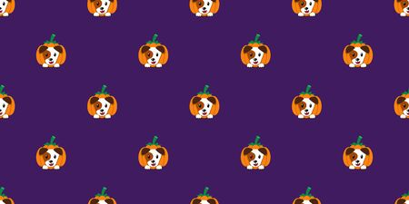 Vector halloween dog with pumpkin seamless pattern background cartoon style for design.