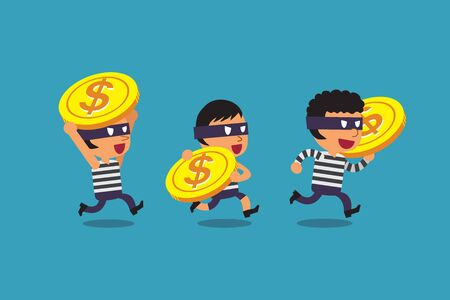Vector cartoon thieves with big coins for design.