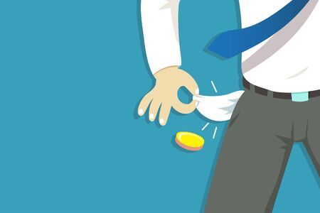Vector illustration of poor businessman hand showing his empty pockets for design.