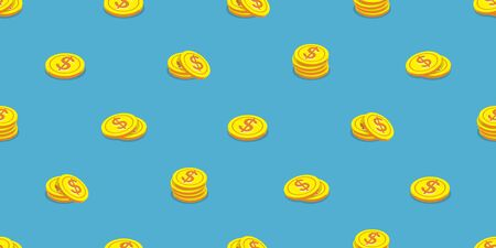 Vector money coins seamless pattern background cartoon style for design.