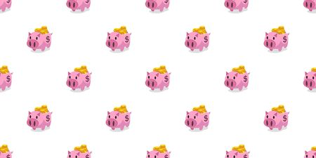 Vector pink piggy bank with money coins seamless pattern background cartoon style for design.