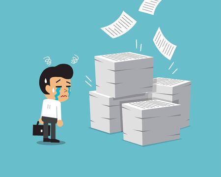Cartoon businessman with a lot of paperwork for design.