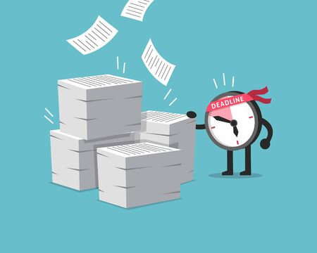 Cartoon character deadline clock character with a lot of paperwork for design. Ilustracja