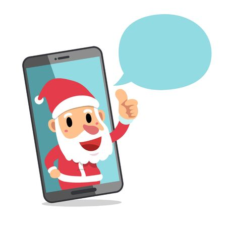 Merry Christmas vector cartoon character santa claus with smartphone for design.