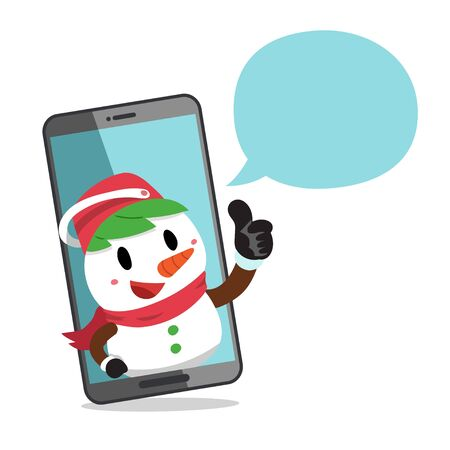 Merry Christmas vector cartoon character snowman with smartphone for design.