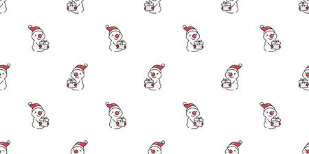 Merry Christmas vector cartoon cute character snowman seamless pattern background for design.