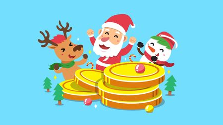 Merry Christmas vector cartoon santa claus and friend with big money coins stack for design.