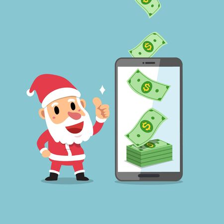 Merry Christmas vector cartoon santa claus earning money with smartphone for design.