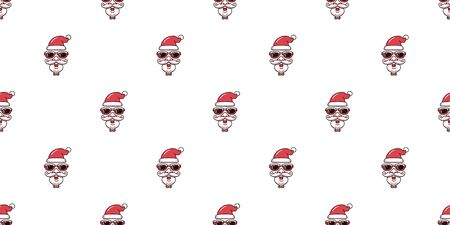 Merry Christmas vector cartoon santa claus face wearing sunglasses seamless pattern background for design.