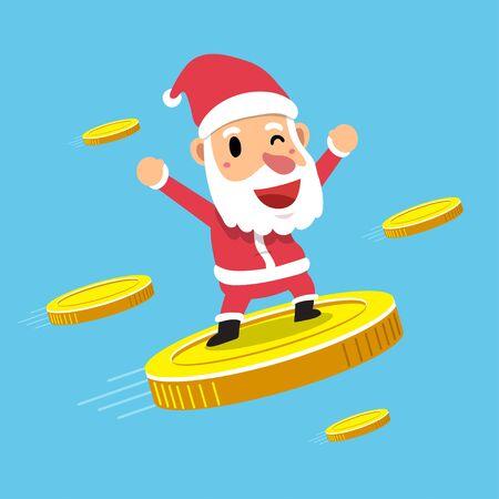 Merry Christmas vector cartoon santa claus with big coins for design.
