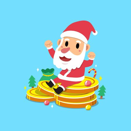 Merry Christmas vector cartoon santa claus with big money coins stack for design.
