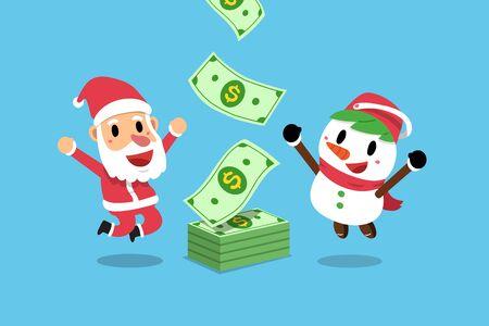 Vector cartoon happy christmas santa claus and snowman earning money for design.