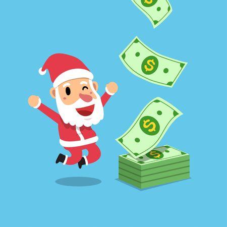 Vector cartoon happy christmas santa claus earning money for design.