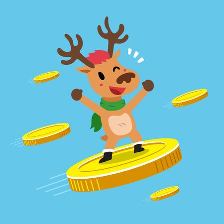 Merry Christmas vector cartoon character reindeer with big coins for design.