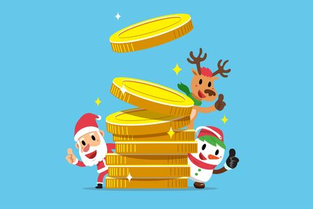Merry Christmas vector cartoon santa claus and friend with big money coins stack Ilustracja