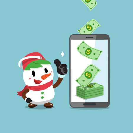 Merry Christmas vector cartoon snowman earning money with smartphone for design.