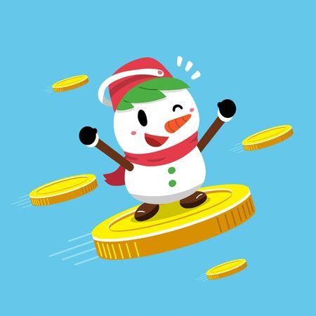 Merry Christmas vector cartoon snowman with big coins for design.