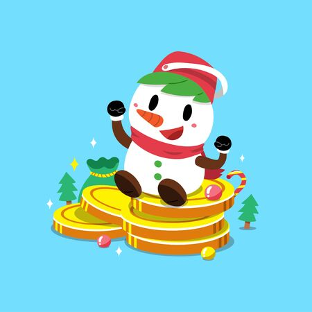 Merry Christmas vector cartoon snowman with big money coins stack for design.