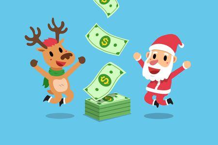 Vector cartoon happy christmas santa claus and reindeer earning money for design. Ilustracja