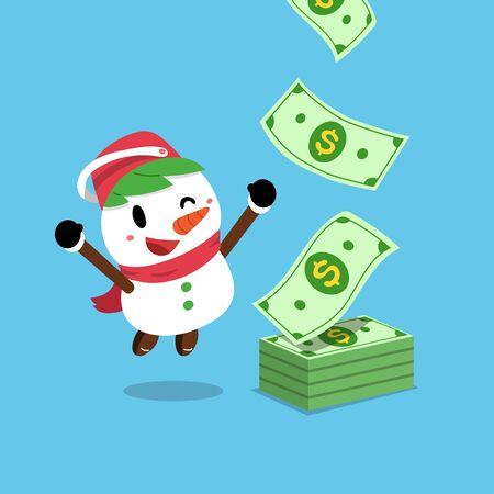 Vector cartoon happy christmas snowman earning money for design. Ilustracja