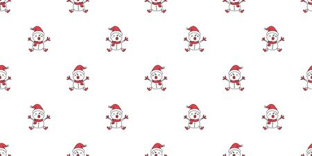 Vector cartoon Merry Christmas cute character snowman seamless pattern background for design. Ilustracja